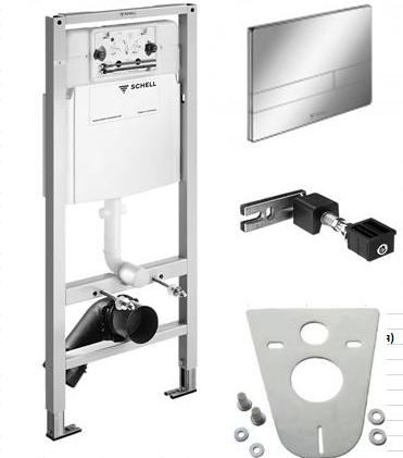 Инсталляция для унитаза Schell 032500099 с белой клавишей, креплением, прокладкой. Производитель: Германия, Schell