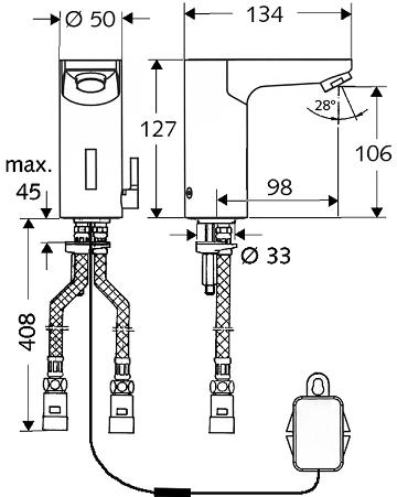 Схема Schell CELIS E HD-M 012290699 электронный смеситель для раковины, работает от аккумулятора