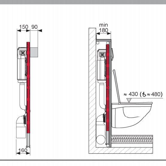 Схема TECE 9400005 Инсталляция для подвесного унитаза комплект 4 в 1 с хромированной клавишей