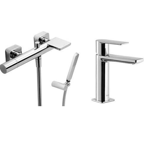 Tres Loft 200.792.01 смеситель для ванны с душевым набором + смеситель для умывальника (200.170.01+200.103.01). Производитель: Испания, TRES