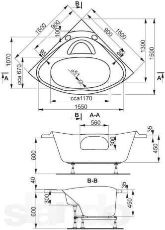 Схема Vagnerplast Athena Угловая ванна 150x150 см с ножками + слив/перелив
