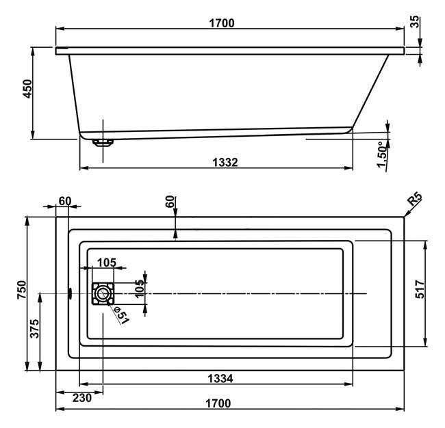 Схема Vagnerplast Cavallo Ванна акриловая 170x75 см с ножками + слив/перелив