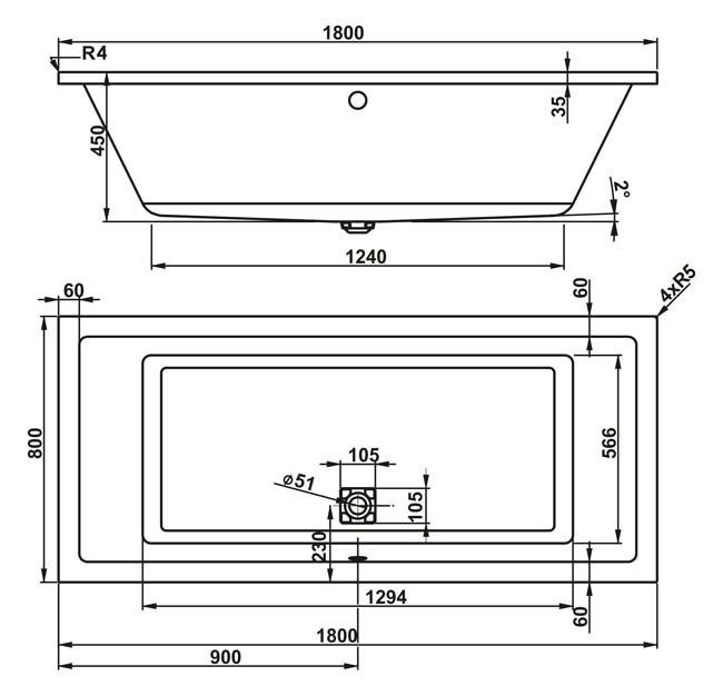 Схема Vagnerplast Cavallo Ванна акриловая 180x80 с ножками + слив/перелив