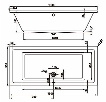 Схема Vagnerplast Cavallo Ванна акриловая 190x90 см с ножками + слив/перелив
