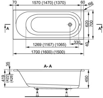 Схема Vagnerplast Kasandra Ванна акриловая 170x70 с ножками  + слив/перелив