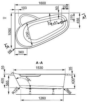 Схема Vagnerplast Selena 160 Ванна акриловая 160x105 см, правая с ножками + слив/перелив