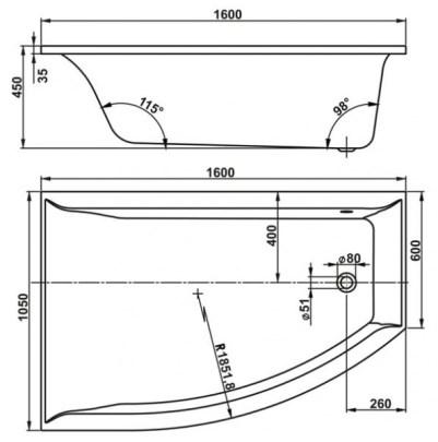 Схема Vagnerplast Veronela Ванна акриловая 160x105 см, правая
