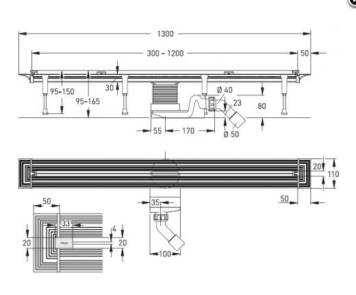 Схема АКЦИЯ! Viega Advantix Vario 686277 Душевой лоток с регулируемой длиной 30-120 см с решеткой SR2 В КОМПЛЕКТЕ!