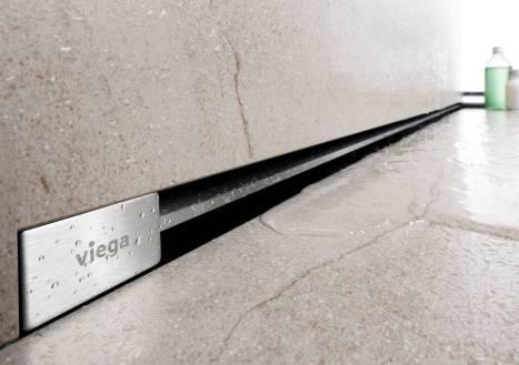 Viega Advantix Vario Wall 736736 душевой лоток в стену 30-120 см, низкий сифон, с дизайн-накладкой 736576, глянцевая. Производитель: Германия, Viega