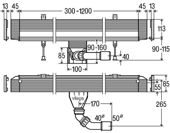 Схема Viega Advantix Vario Wall 736552 душевой лоток в стену, регулируемая длина 30-120 см, с дизайн-накладкой 736576, глянцевая