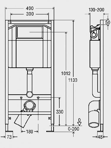 Схема Viega 606688+460440+654404 Инсталляция для подвесного унитаза с креплением и клавишей Visign for Style, белая