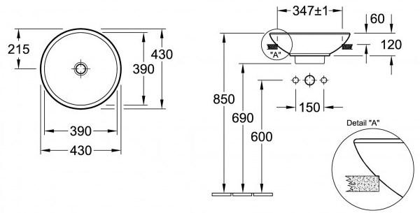 Схема Villeroy & Boch Loop & Friends 41140101 Полувстраиваемая раковина для установки на столешницу d 43 см