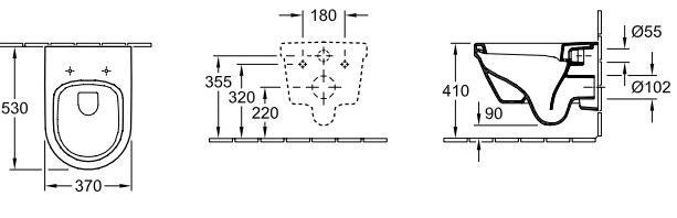 Схема Инсталляция Grohe 38721001, 4 в 1 + Унитаз Villeroy & Boch  Design Omnia architectura 5684H101 с крышкой плавного опускания