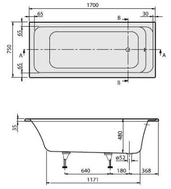 Схема Villeroy & Boch Omnia Architectura BA170ARA2V-01 Ванна 170х75 акрил