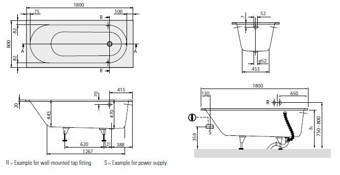 Схема Villeroy & Boch Oberon BQ180OBE2V-01 Ванна 180х80 кварил с ножками