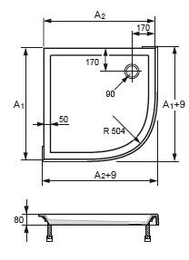 Схема Huppe Verano 235031.055 Душевой поддон 90 x 90 см радиус 500, с формованной передней панелью