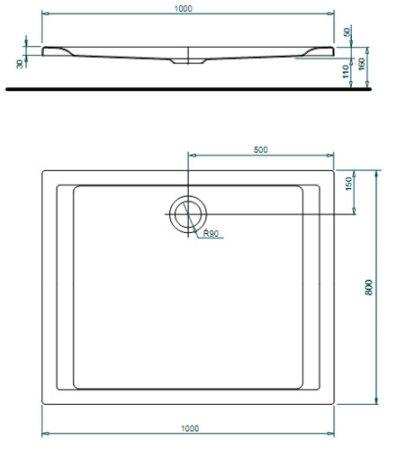 Схема KOLO Pacyfik XBP0718000 Поддон 100х80 см