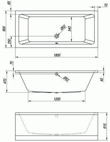 Схема Kolpa San Elektra Ванна 180x80 см, акрил