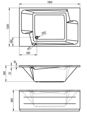 Схема Kolpa San Nabucco Ванна 190x120 см
