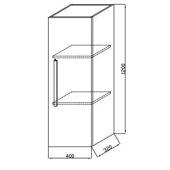 Схема Kolpa San Tia T1202 шкафчик навесной с распашной дверцей, 120х40х32 см, белый