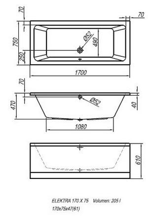 Схема Kolpa San Elektra Акриловая ванна 170x75 см