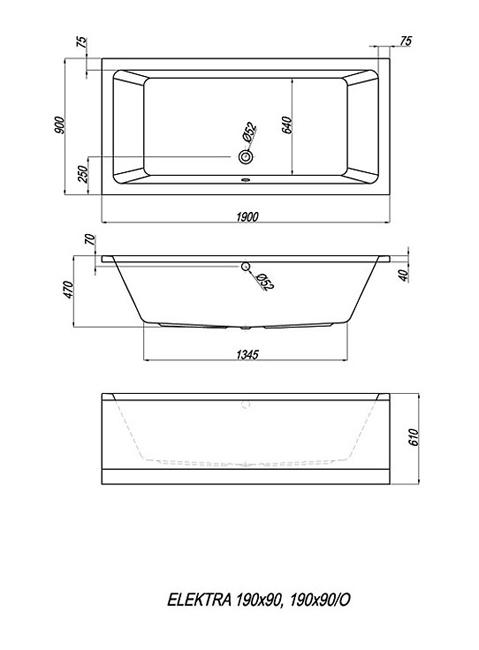 Схема Kolpa San Elektra Ванна 190x90 см, акрил