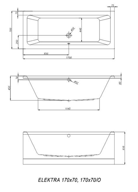 Схема Kolpa San Elektra Ванна акриловая 170x70 см