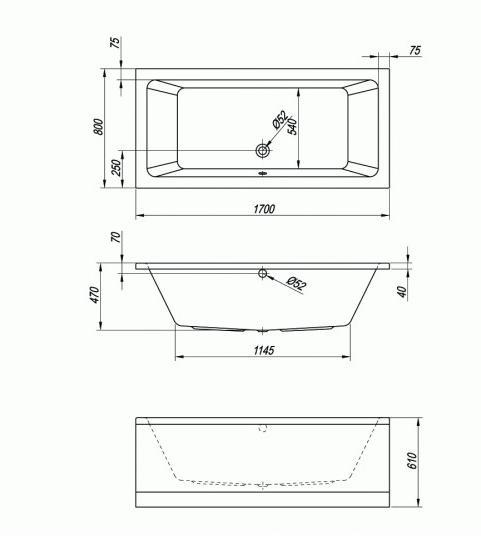 Схема Kolpa San Elektra Ванна акриловая 170x80 см
