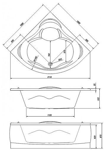 Схема Kolpa San Loco Ванна угловая 150х150 см