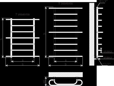 Схема Полотенцесушитель Марио Верона