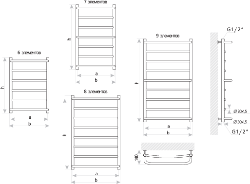 Схема Полотенцесушитель Марио Люкс