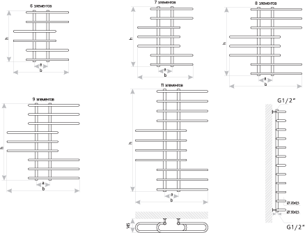 Схема Полотенцесушитель Марио Парус