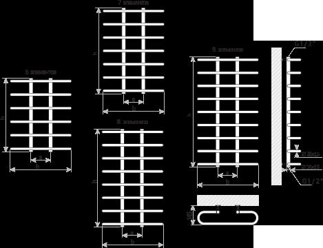 Схема Полотенцесушитель Марио Сахара