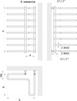Схема Полотенцесушитель Марио Угловая лесенка 800х505 мм